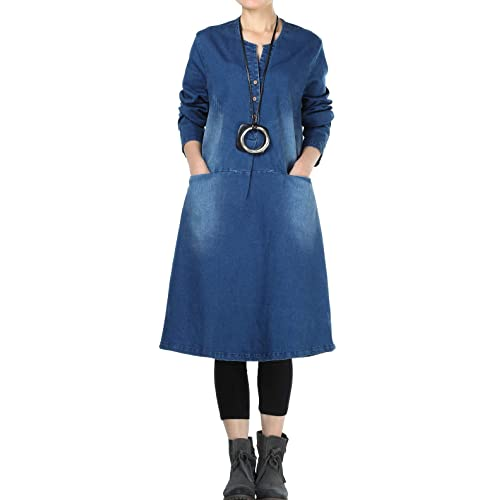 278ca6c4a6f Mordenmiss Women s New Denim Dresses Long Sleeve A-line Shirt Dress with  Pockets