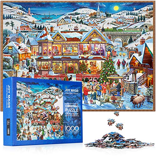 JOY MAGS 1000 Piece Christmas Village Paper Jigsaw Puzzle for Kids Adult,Christmas Jigsaw Puzzle Games Decoration