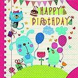 Casa Cucina Decorazione Accessori Set 20 Tovaglioli Monouso Carta 3 veli 33 x 33 cm Motivo Happy Birthday