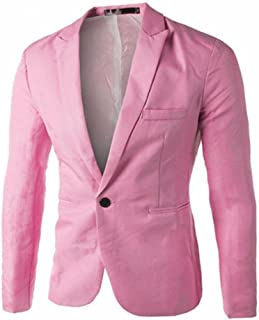92f5a3f8b1b5 Singleluci Mens Slim Fit Casual One Button Blazer Jacket Business Suit