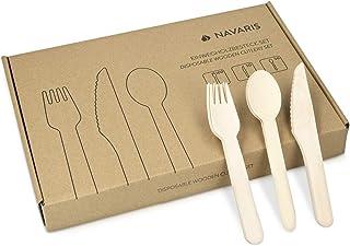 Navaris Set de 200 Cubiertos de Madera Desechables - 100x Tenedor 50x Cuchillo y 50x Cuchara - Biodegradables y sin plástico