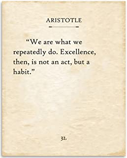 Aristotle - We Are What We Repeatedly Do - 11x14 Unframed Typography Book Page Print - Great Inspirational Gift and Decor Under $15