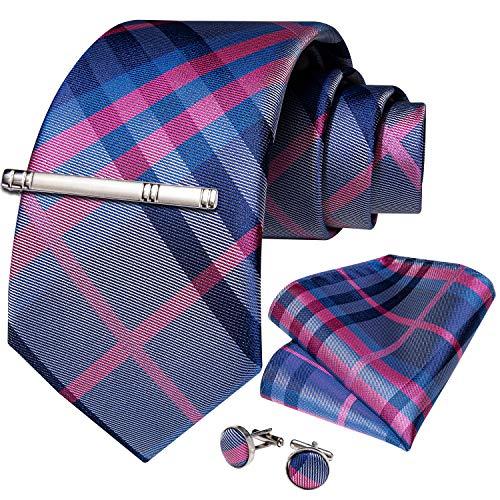 DiBanGu DiBanGu - Business-Krawatten-Set aus gewebter Seide, bestehend aus Herrenkrawatte, Einstecktuch, Manschettenknöpfen und Krawattennadel Gr. Einheitsgröße, rosa / blau