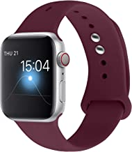 YOUKEX Sport Band Compatible with Apple Watch Band 38mm 40mm 42mm 44mm, Soft Silicone Strap Wristbands Replacement for Series 5 4/3/2/1 Women Men, S/M M/L (Wine red, 38mm/4omm s/m)