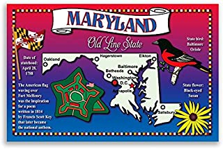 MARYLAND STATE MAP postcard set of 20 identical postcards. Post cards with MD map and state symbols. Made in USA.