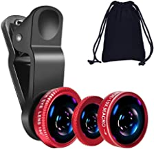 KINGMAS 3 in 1 Universal Fish Eye & Macro Clip Camera Lens برای iPad iPhone 7 6 5 Samsung BlackBerry HTC و بیشتر تلفن های هوشمند (قرمز)