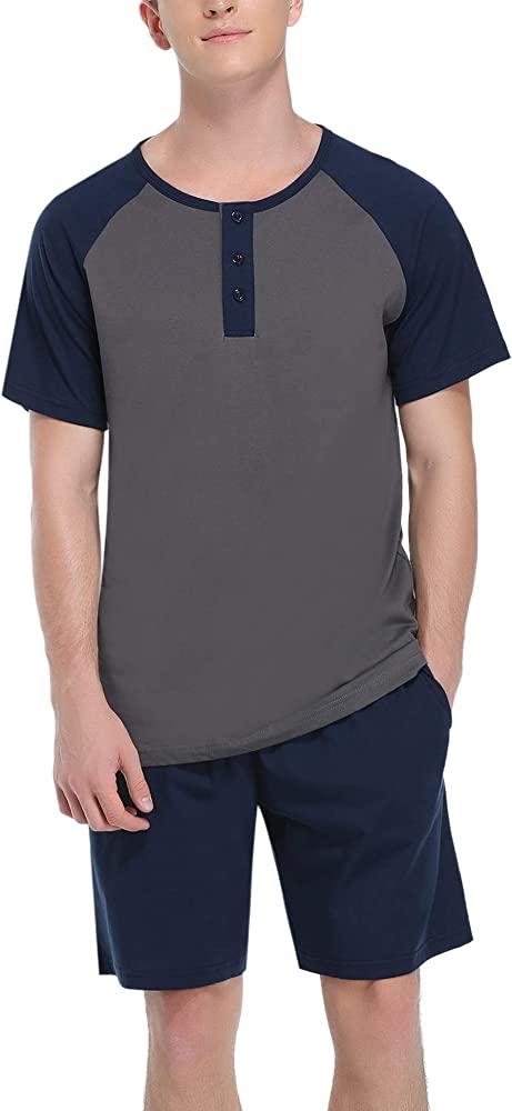 Hawiton, pigiama da uomo estivo, due pezzi,  100% cotone, blu scuro e grigio scuro