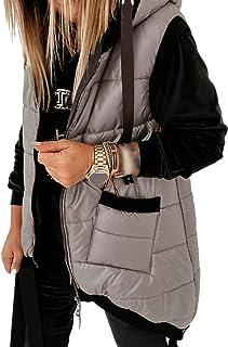 Kaxindeb Women's Hooded Outwear Vest Lightweight Zipper Up Padded Gilet With Pockets