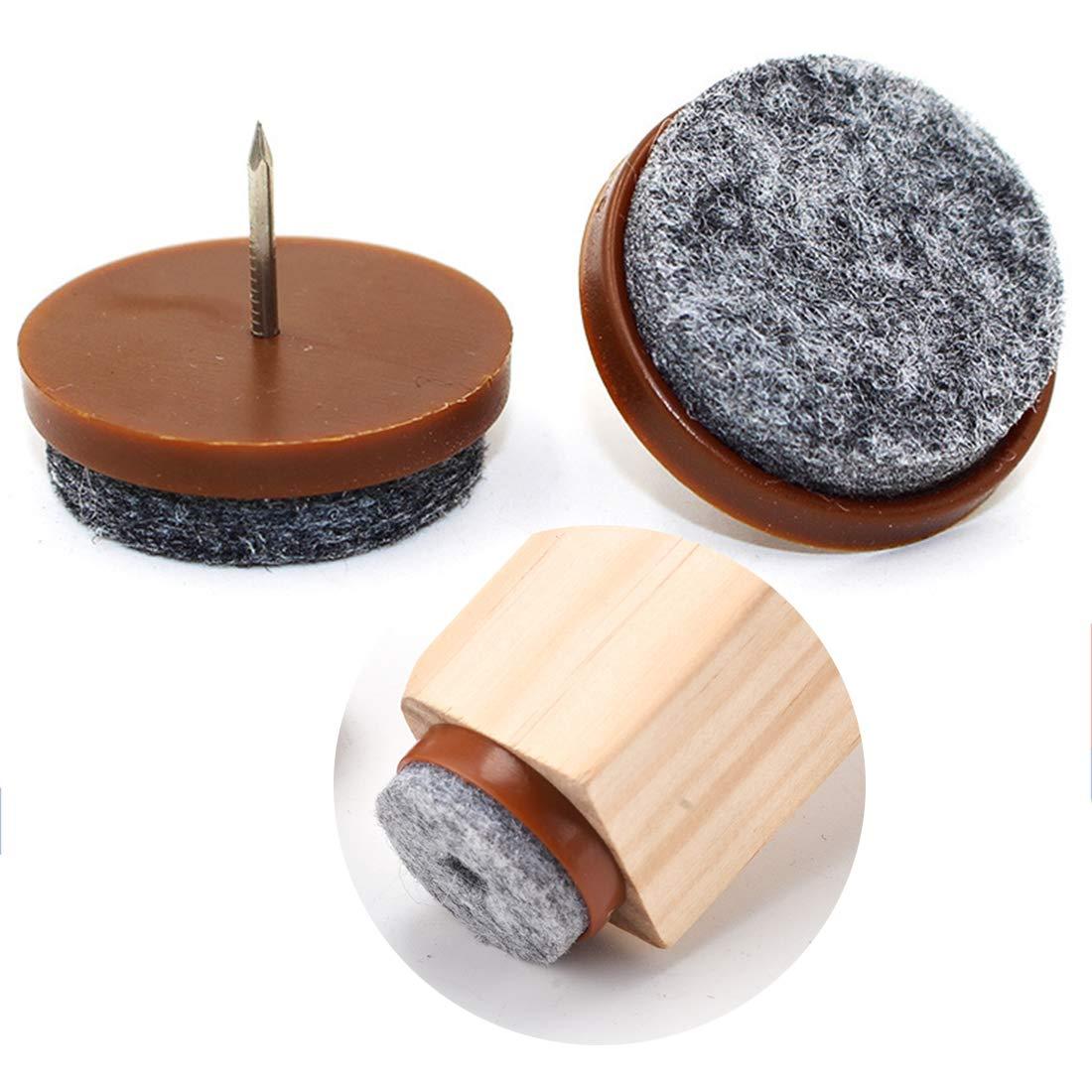 Pack de 32 almohadillas de fieltro para patas de sillas de madera, 8 mm de grosor de fieltro y clavos de 14 mm, almohadillas protectoras antideslizantes para el piso,: Amazon.es: Bricolaje y herramientas