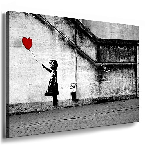 Fotoleinwand24 - Banksy Graffiti Art There is Always Hope / AA0134 / Bild auf Keilrahmen/Grau / 100x70 cm