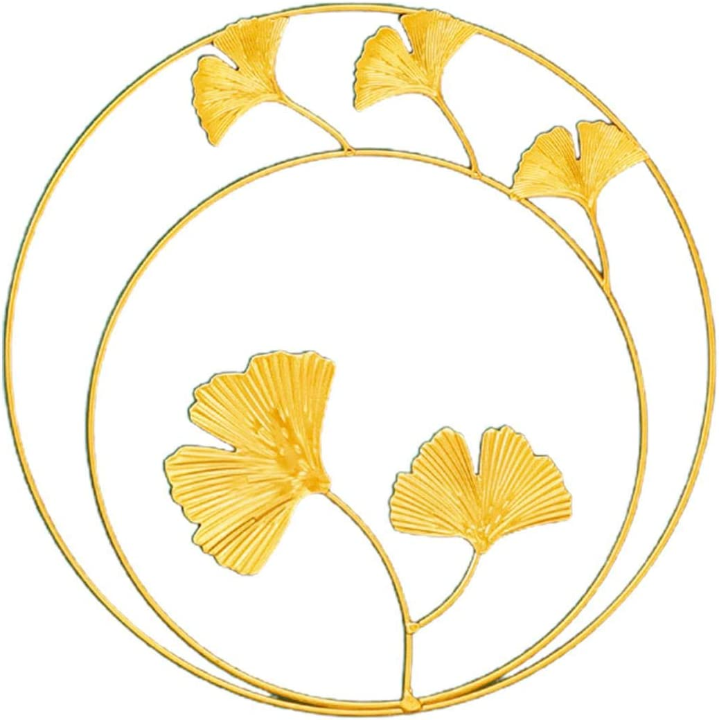 CALIDAKA Gold Leaf,Iron Wall Sculptures,Gold Metal Leaf Desktop Ornament Wall Decor Round Wall Ornaments,Easy Installation Great for Bedroom Hanging Parts Hotel Wall Decoration