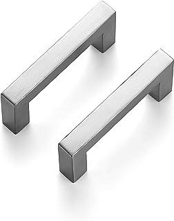 Ravinte 10 Pack 3 Inch Kitchen Square Cabinet Handles Satin Nickel Cabinet Pulls Brushed Nickel Drawer Pulls Kitchen Cabin...