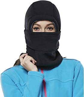 Balaclava Fleece Hood for Women Kids Thick Ski Face Mask Hat Cold Weather Winter Warmer Windproof Adjustable Cycling