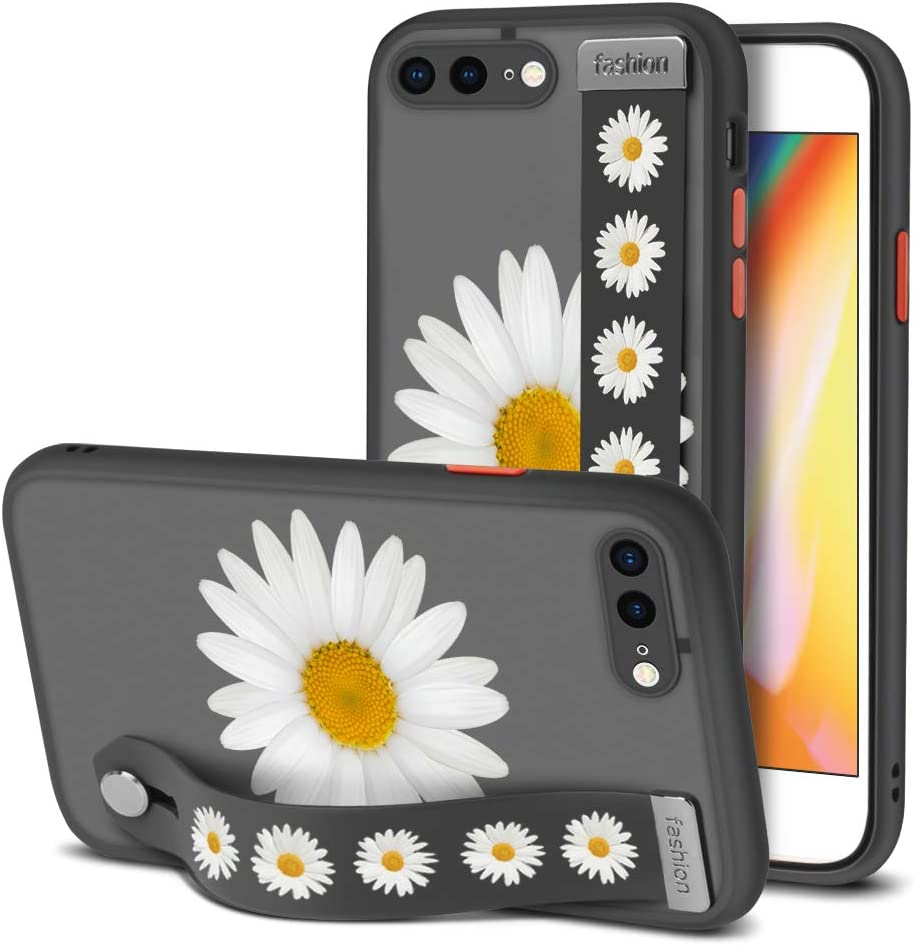 iPhone 7 Plus Case, iPhone 8 Plus Case with Straps Clear Case Daisy Pattern Shockproof Full Body Protection Soft TPU Frame and Hard PC Back Scratch-Resistant Cover for iPhone 7/8 Plus 5.5 Inch - Black