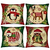Ueerdand Christmas Pillow Covers Holiday Decor 18x18 inch Set of 4 Winter Animals Decorative Throw Pillow Cases for Outdoor Indoor Farmhouse Decorations