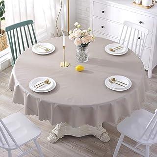 Rond PVC Nappe, Vinyle Nappes Toile Cirée Huile-Preuve Étanche Linge De Table Tapis De Table Tapis Clavier Décoration De T...