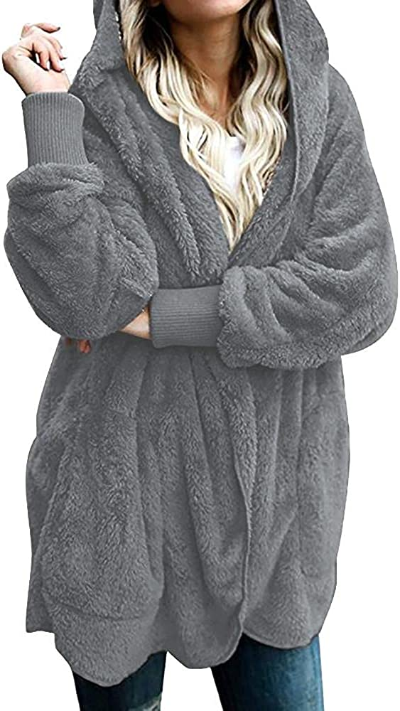 Women Long Sleeve Plush Warm Hooded Winter Solid Fuzzy Fleece Open Front Cardigan Jacket Coat Fashion Outwear Pullover