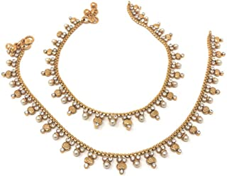 Bridal Indian Pakistani Ethnic Gold Plated Payal Anklet Pair in Tiny Pearls Cubic Zirconia