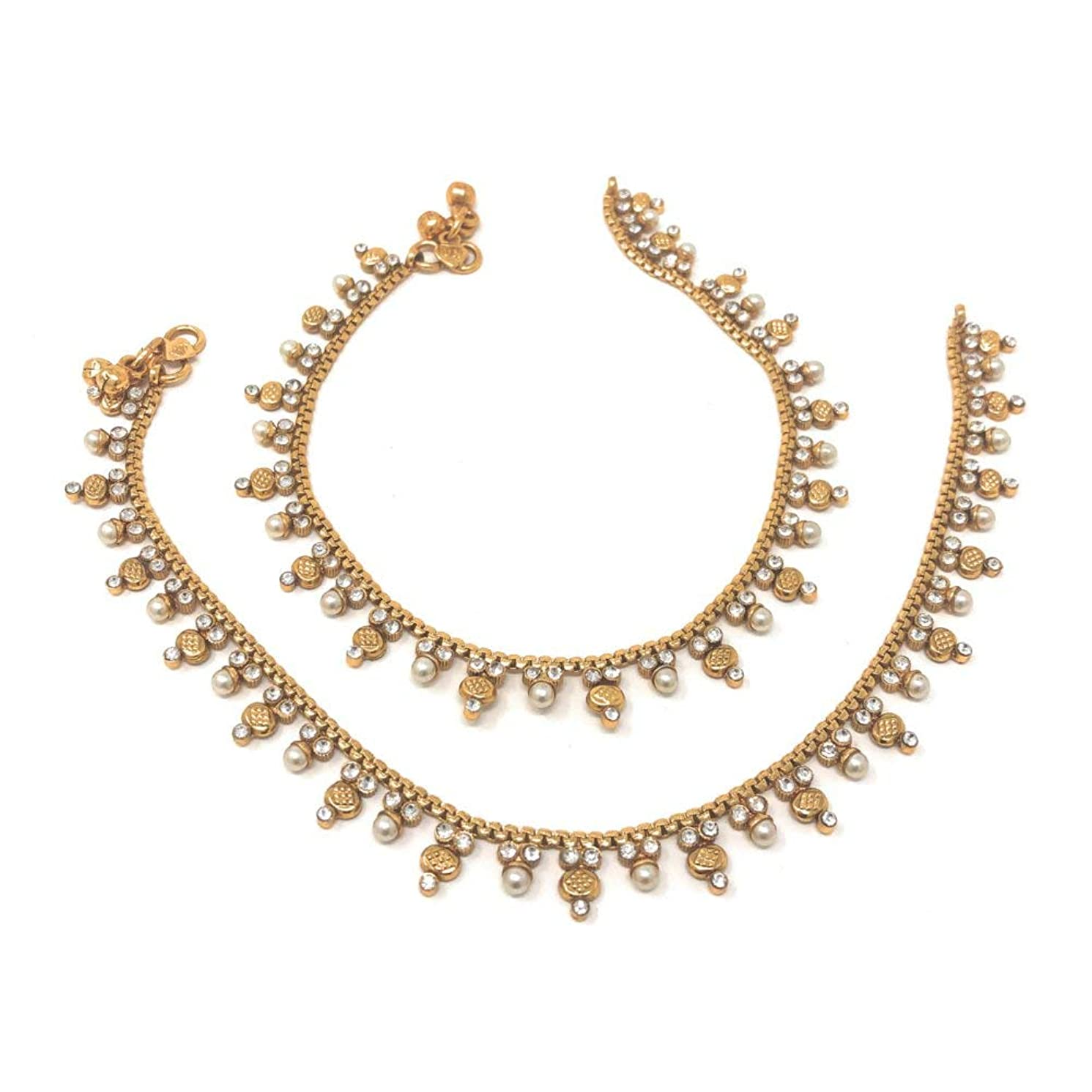 Bridal Indian Pakistani Ethnic Gold Plated Payal Anklet Pair with Soft Bells Tiny Pearls Cubic Zirconia