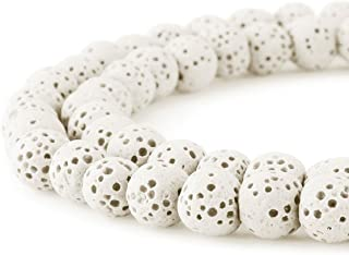 BEADNOVA 8mm Color Lava Beads Natural Crystal Beads Stone Gemstone Round Loose Energy Healing Beads for Jewelry Making (8mm, 48-50pcs, White)