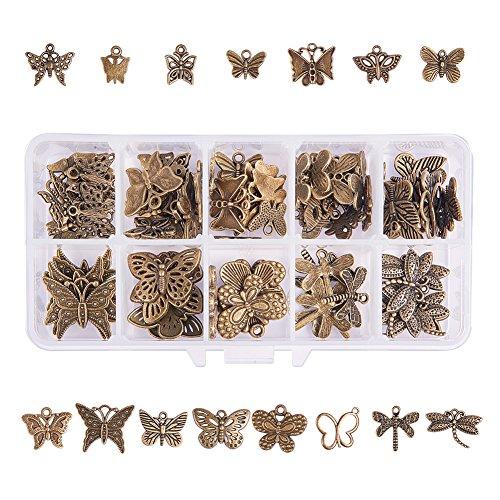 PandaHall Elite 90 Pcs Colgantes de Aleación de Estilo Tibetano, Insecto, Mariposa, Bronce Antiguo, 135x70x30 mm