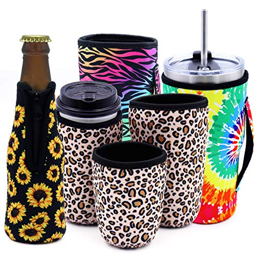 BEIJITA Reusable Insulated Neoprene Ice Beer Bottle Insulator Sleeves,Coffee Cup Insulator Sleeve Set for Cold Beverages and for Birthday Party, Picnics, Outdoor Activities