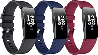 GOSETH Compatible with Fitbit Inspire HR/Inspire Bands, Silicone Accessories Sports Wristband for Fitbit Inspire HR(Small, Black&Blue&Sangria)