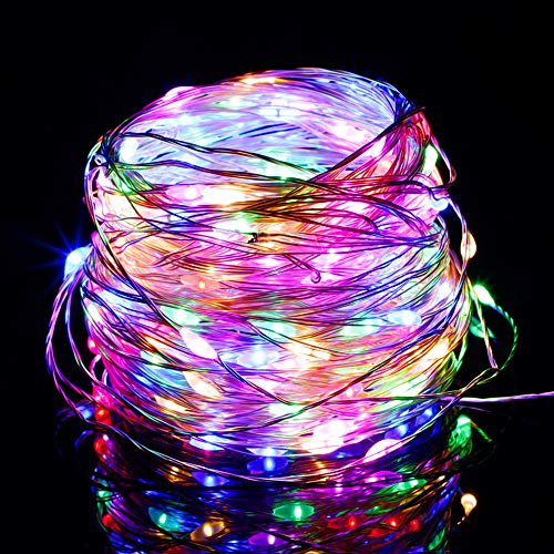 Twinkle Star 200 LED 66ft Christmas Fairy String Lights USB & Adapter Powered, Dimmable Starry Silver Wire Light Home Lighting Indoor Outdoor Bedroom Wedding Party Decoration, Multicolor