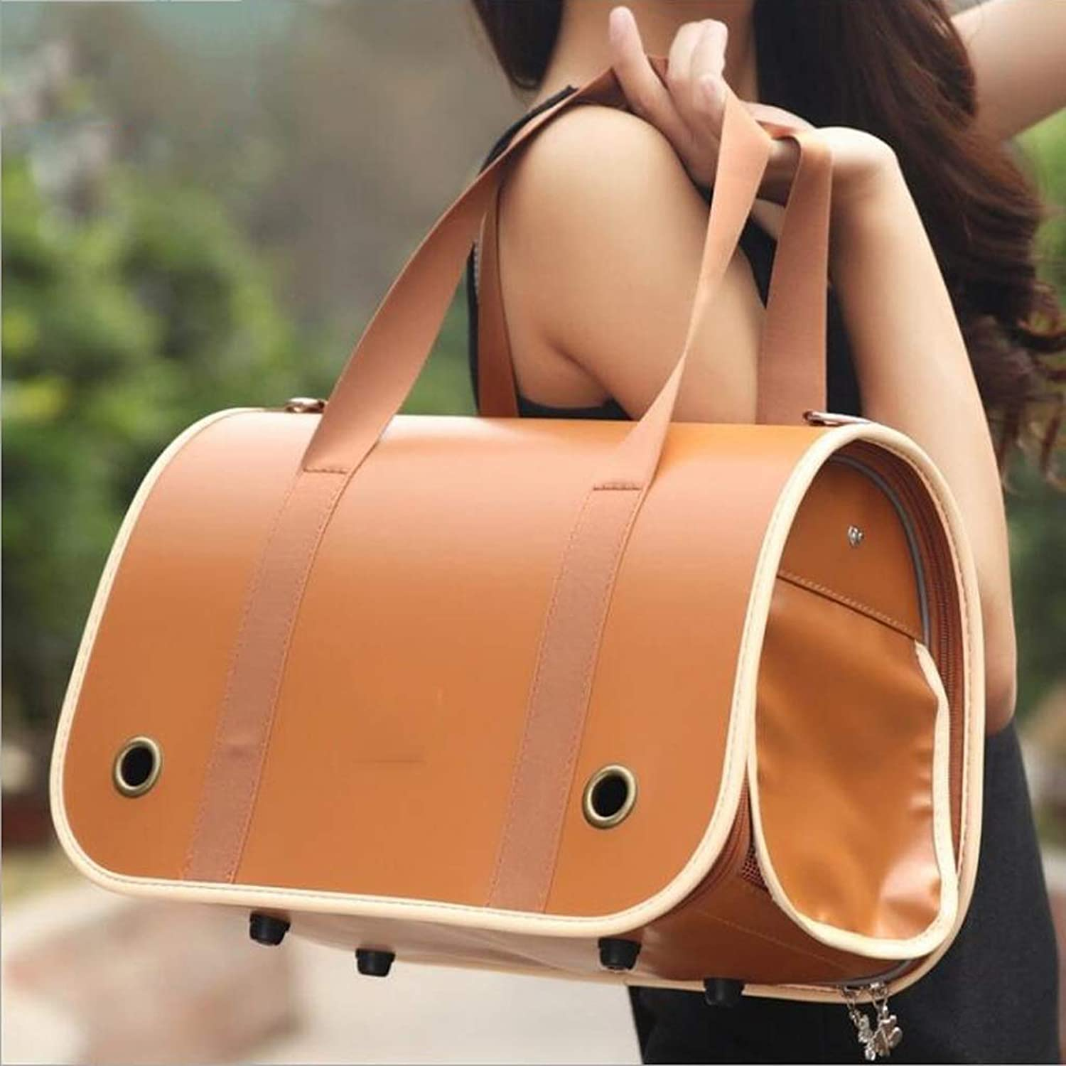 HAO SHOP Pet Travel Carrier Comfort Expandable Foldable Travel bag for Dogs and Cats (color   BROWN, Size   37  18  23cm)
