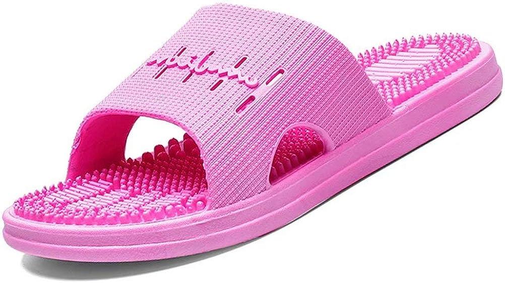 NineCiFun Women's and Men's Flat Quick Drying Bath Shower Massage Slide Sandals