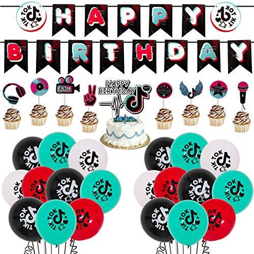 BAIBEI Globos de cumpleaños TIK Tok, 30pcs Suministros de decoración de fiesta TIK Tok Happy Birthday Banner Globos y adorno para tarta para fiesta musical Compartir celebración Suministros