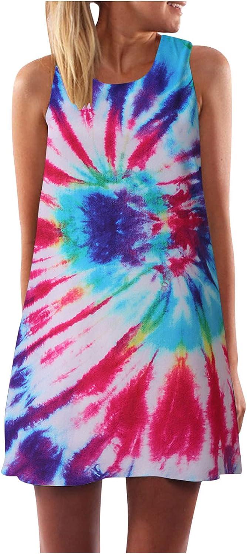 Lovor Women Summer Rainbow Casual Round Neck T Shirt Dresses Print Beach A Line Cover up Plain Tank Dress