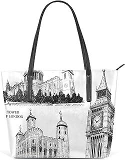 FANTAZIO Handtasche Schulter Gebäude Skizze England Schultertasche Handtasche