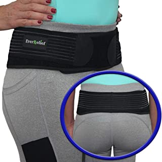 EverRelief SI Belt Hip Brace- Sacroiliac Joint Support for Men & Women-Fully Adjustable Sciatica Brace Relieves Back,  Pelvic & Hip Pain-Medium