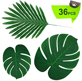 TIQS 36 Pieces Artificial Palm Tropical Leaves for Party Decoration Supplies 3 Kinds Faux Plants: Long Stem Monstera & Banana Leaf Pcs - for: Safari, Jungle, Hawaiian Luau, Kids Party, placemats