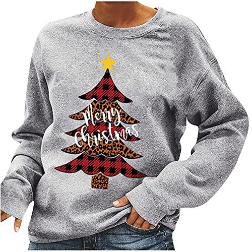Fall Fashion for Women 2021 Christmas Tree Graphic Sweatshirts Custom Shirts Long Sleeve Blouses Funny Printed Tunic Gray