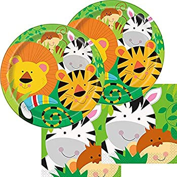Animals Plates and Napkins Paper Wild One Party Supplies Zoopals Zoo Pals Baby Safari Jungle Animal 16 Serves