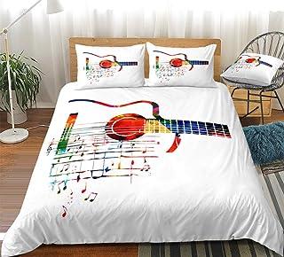 Juego de Funda nórdica de Guitarra Colorida Juego de Ropa de Cama Ropa de Cama Colcha de Estilo Simple Textiles para el hogar Microfibra