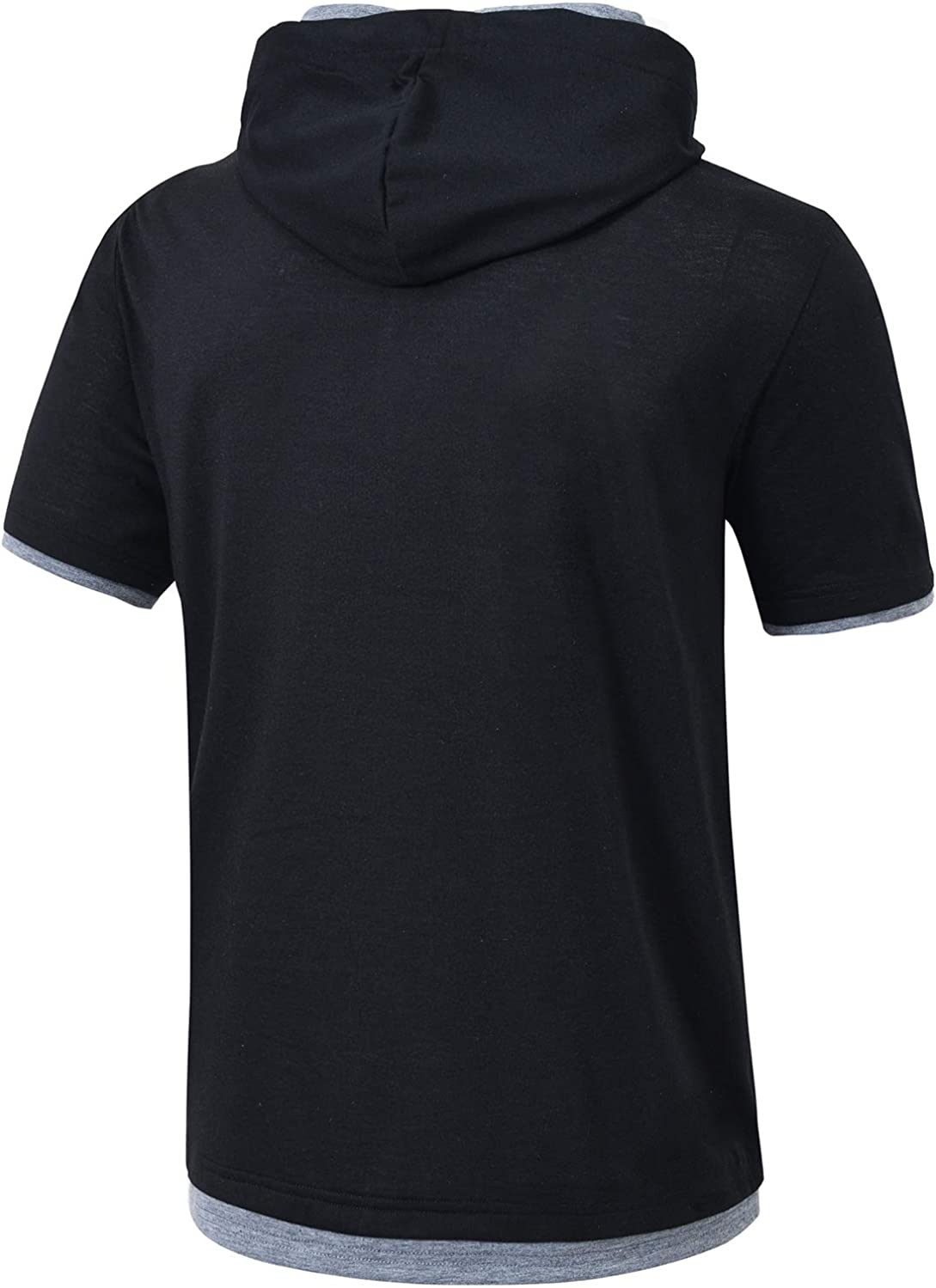 Satankud Men's Casual Short Sleeve Pullover Hoodie Shirt