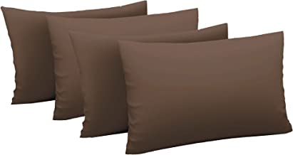 Just Linen 600 TC Cotton Sateen Solid, Dark Chocolate, Standard Size Pillow Cases - 4 Piece