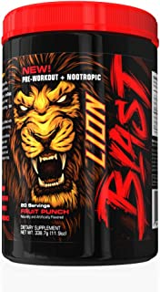 LionBlast Pre-Workout + Nootropic, Boost Focus and Energy, Fruit Punch, 20 Servings