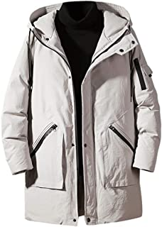 FWEIP Men's Long Solid Cotton Hooded Thick Overcoat Winter Mid-length Hoodie Jacket Snowsuit Zipper Pockets Outwear