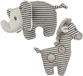 Mary Meyer Afrique Soft Toy Baby Rattles, Set of 2, 5-Inches, Giraffe and Elephant
