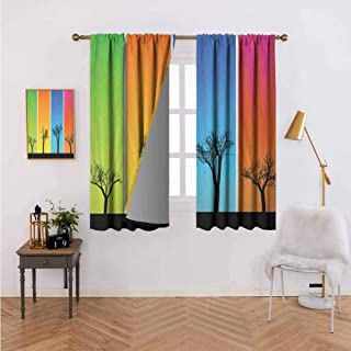 Curtains for Kitchen Colorful Banners with Autumn Foliage Silhouettes Environmental Themed Illustration Multicolor Bedroom Living Room Decoration 72