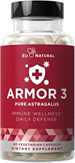 Eu Natural Armor 3 Astragalus Pure 1000 Mg Healthy Immunity Function, Stress Support, Potent Strength For Seasonal Protect...