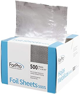 "ForPro Embossed Foil Sheets 500S, Aluminum Foil, Pop-Up Dispenser, for Hair Color Application and Highlighting Services, Food Safe, 5"" W x 10.75"" L, 500-Count"