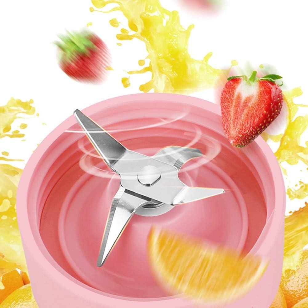 Mélangeur personnel Juicer 550 ml, USB Rechargeable 2000 mAh Mélangeur à main Machine à fruits pour Smoothie, Milkshake, Fruits et Légumes Boissons-White Pink