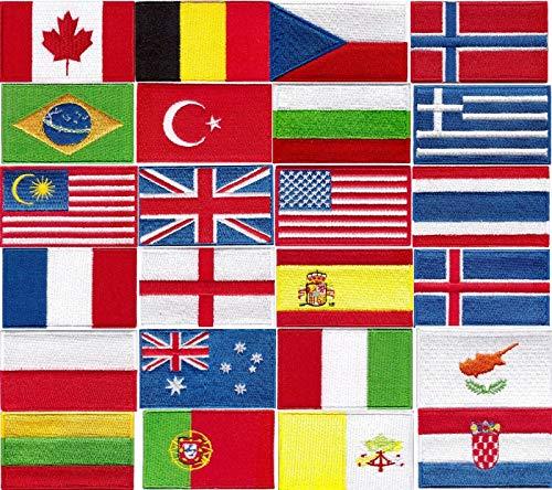 Aufnäher mit Nationalflagge, zum Aufnähen oder Aufbügeln, bestickt, Cartoon-Aufnäher (Name Dänemark)