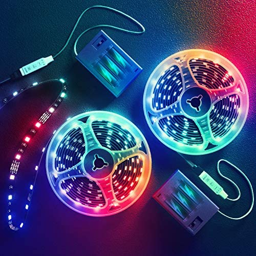 13.2 Feet Battery Powered Led Strip Lights,DIY Color Changing Led Lights Battery Operated. Integrated Controller for Bedroom, Sports,Outdoors, Party,Costume and Dress up