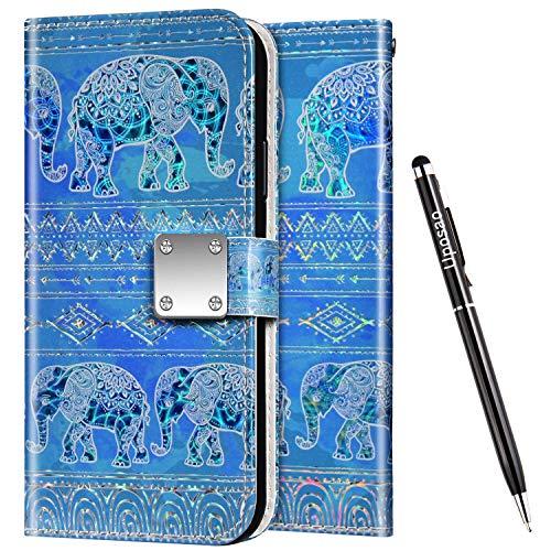 Uposao Kompatibel mit Samsung Galaxy S8 Plus Hülle Leder Handyhülle Bunt Glänzend Bling Glitzer Klapphülle Flip Case Wallet Schutzhülle Brieftasche Klapphülle Tasche Kartenfächer,Mandala Elefant